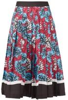 Mary Katrantzou Nyx Abstract-printed Pleated Midi Skirt - Womens - Blue Multi