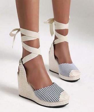 BUTITI Women's Sandals blue - Blue Stripe Ankle-Wrap Wedge Sandal - Women