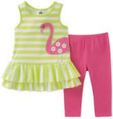 Kids Headquarters 2-Pc. Flamingo Tunic & Leggings Set, Little Girls