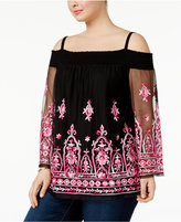 INC International Concepts Plus Size Off-The-Shoulder Embroidered Top, Only at Macy's