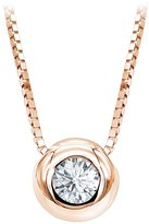 Luxurman Ladies 14K Gold Solitaire Round Diamond Necklace Pendant with chain 0.25ctw (Rose Gold)