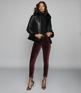 Reiss Lux Velvet - Velvet Mid Rise Skinny Trousers in Berry