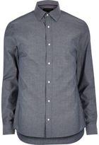River Island MensGrey point collar slim shirt