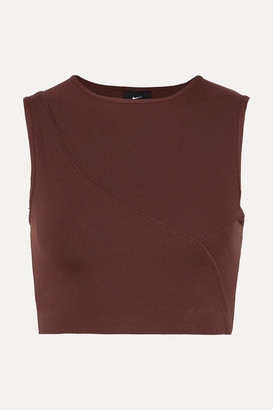 Nike Pro Hypercool Cropped Ribbed Stretch-jersey Top - Burgundy