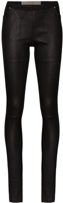 Rick Owens Mid-Rise Leather Leggings