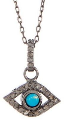 Adornia Fine Silver 5.20 Ct. Tw. Diamond & Turquoise Evil Eye Necklace