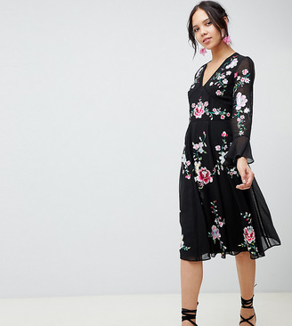Asos Tall DESIGN Tall embroidered midi dress with lace trims-Black