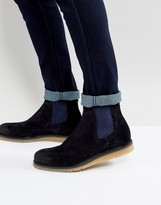Boss Orange By Hugo Boss Waxed Calf Suede Chelsea Boots Navy