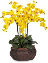 Bed Bath & Beyond Nearly Natural Large Phalaenopsis Silk Flower Arrangement in Yellow