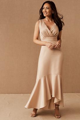 BHLDN Fairbanks Satin Dress By in Beige Size 2