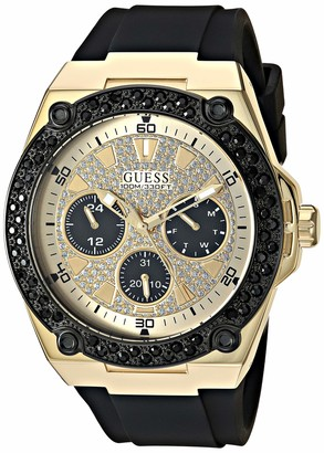 GUESS Black Gold-Tone Glitz Stain Resistant Silicone Watch with Day Date + 24 Hour Military/Int'l Time. Color: Black (Model: U1257G1)