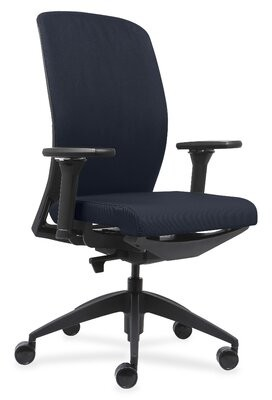 Lorell Executive Chairs With Fabric Seat & Back Upholstery Color: Dark Blue