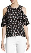 Rebecca Taylor Rosalie Cold-Shoulder Ruffled Top, Black Multi