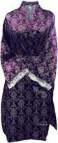 Sock Snob Womens Luxury Long Sleeve Pattern Lined Satin Wrap Robe Kimono Dressing Gown