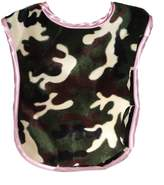 Patricia Ann Designs Camouflage Reversible Bib, Pink Fleece and Pink Satin Trim by