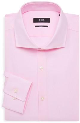 HUGO BOSS Jason Slim-Fit Bird's-Eye Print Dress Shirt