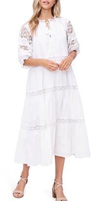 En Saison Lace Detail Tiered Cotton Midi Dress