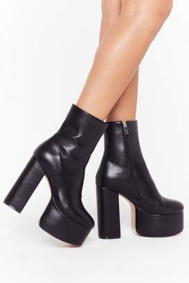 Nasty Gal Womens Dance to the Beat Faux Leather Platform Boots - black - 6