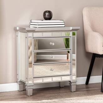 Aiden Lane Lompton Mirrored 3 Drawer Accent Chest Silver