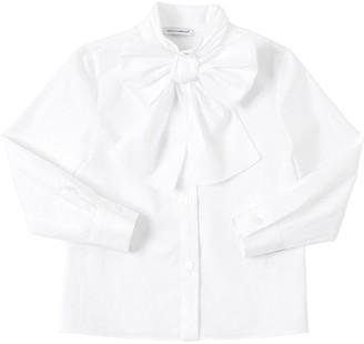 Dolce & Gabbana Stretch Cotton Poplin Shirt W/ Bow