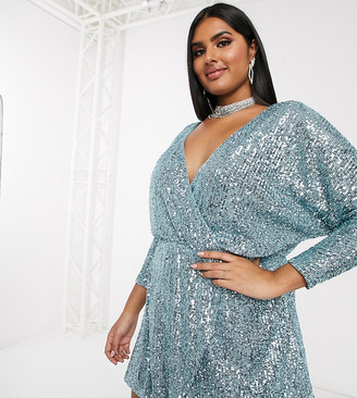 Club L London Plus sequin plunge neck long sleeve mini dress in baby blue