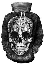 Paymenow Unisex Teens 3D Graphic Skull Hooded Sweatshirt Casual Pullover With Pockets