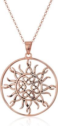 "Celtic 14k Rose Gold Plated Sterling Silver Love Knot Sun Pendant 18"""