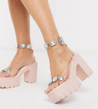 ASOS DESIGN Wide Fit Naught chunky clear embellished heeled sandals
