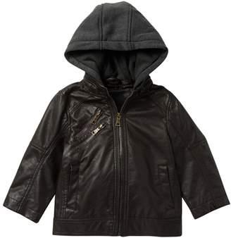 Urban Republic Nappa Faux Leather Moto Jacket with Fleece Hood (Toddler Boys)