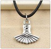 Nobrand No brand Fashion Tibetan Silver Pendant skirt Necklace Choker Charm Black Leather Cord Factory Price Handmade Jewlery