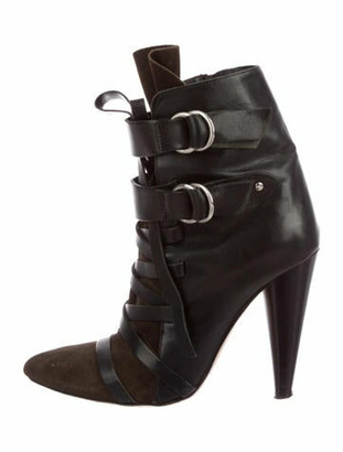 Isabel Marant Leather Pointed-Toe Booties Black