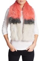 Yves Salomon Colorblock Fox Fur Scarf
