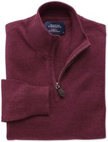 Charles Tyrwhitt Wine Cotton Cashmere Zip Neck Cotton/cashmere Sweater Size XXXL