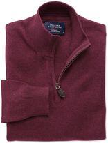 Charles Tyrwhitt Wine Cotton Cashmere Zip Neck Jumper Size XS