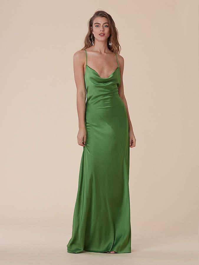 Diane von Furstenberg Cowl Neck Satin Bias Gown