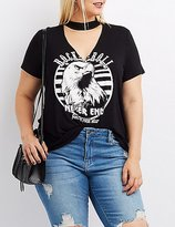 Charlotte Russe Plus Size Rock & Roll Choker Neck Graphic Tee