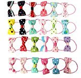 Blyyasgi Ribbon Infants and Children Dot Floral Print Bow Hair Ring Hair Rope Rubber Band Baby Girls Hair Tie Headdress Ornaments (50 PCS)