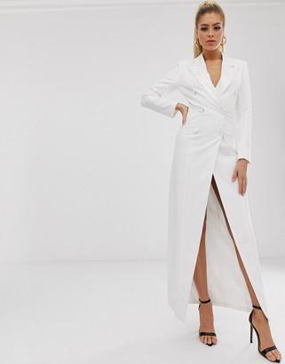 Club L London double breasted midaxi satin blazer dress-White