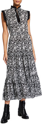 See by Chloe Peony Print Sleeveless Ruffle Trim Midi Dress