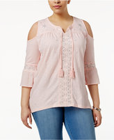 Style&Co. Style & Co Plus Size Embellished Cold-Shoulder Peasant Top, Created for Macy's
