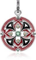 Thomas Sabo Blackened Sterling Silver, Glass-Ceramic Stone and Synthetic Corundum Round Pendant
