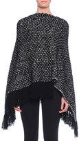 Dolce & Gabbana Cashmere Asymmetric-Hem Poncho with Fringe, Gray