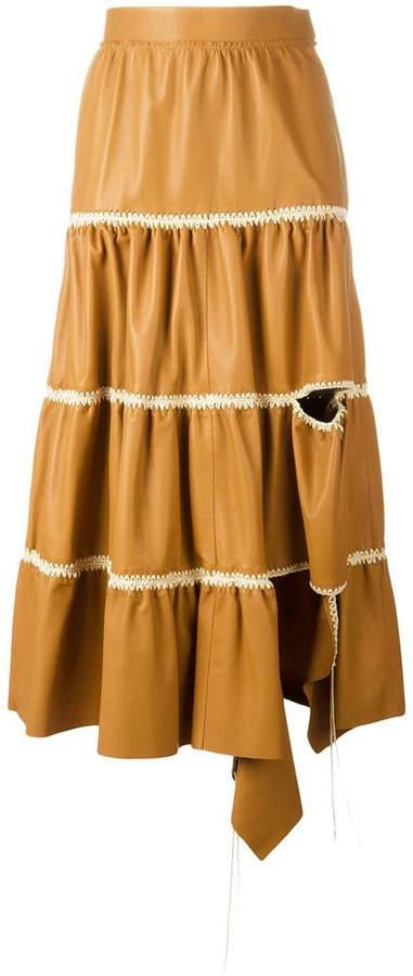 Loewe cut-out detail ruffled skirt