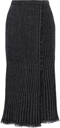 Diane von Furstenberg Brooklyn Wrap-effect Pleated Metallic Merino Wool-blend Midi Skirt