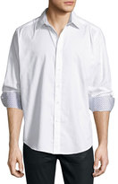 Robert Graham Long-Sleeve Woven Sport Shirt, White