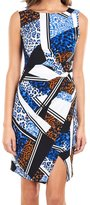 Joseph Ribkoff Blue/Cognac Geometric + Animal Print Wrap Dress Style 162676