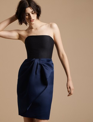 Halston Bow Drape Bonded Satin Dress