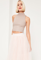 Missguided Nude Glitter Ribbed High Neck Sleeveless Crop Top