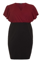 Quiz Curve Berry And Black Wrap Over Frill Sleeve Dress