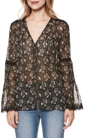 Paige Clio Floral Bell Sleeve Silk Blouse